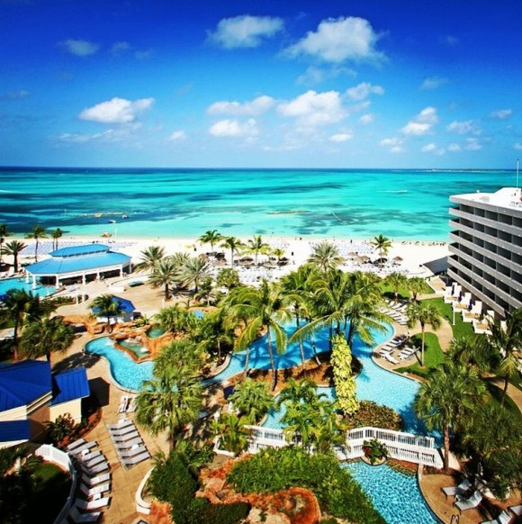 On today's schedule: catch some sun on Cable Beach, take a dip in the pool, sip a signature Apricot Sangria, and then have the Encrusted Sea Bass with Curry Mango Sauce at Nikkei Restaurant for dinner. @meliahotelsinternational #nassau #bahamas #beach #caribbean #perfection