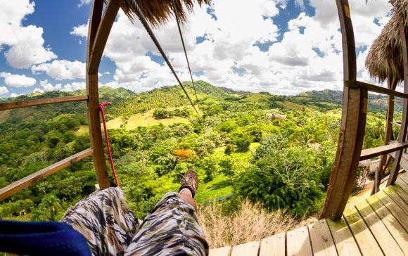 Zip line view of the top of a platform in the Dominican Republic.