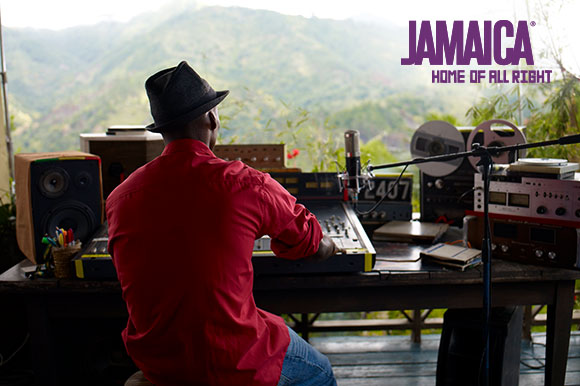 playing music in the Jamaican Blue Mtns